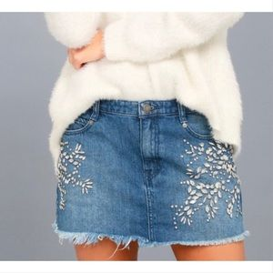 Free People embellished mini Jean skirt 0
